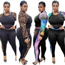High Quality 2020 Casual Fashion Print Sexy 2 Pcs Tracksuit Outfits Plus Size Two Piece Set Women Clothing For Fat Women