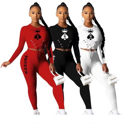 Best Seller 2020 Fall New Poker Print Sports Suit Bandage Skinny 2 Piece Set Women Outfits Plus Size Two Piece Pants Set