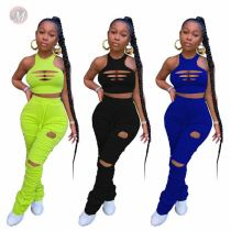 New Design Solid Hollow Out Crop Top And Draped Pants Sexy Matching Sets 2 Pcs Outfits Two Piece Set