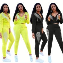 Wholesale Fall And Winter New 2 Piece Set Hot Drilling Leisure Wear Jogging Suit Outfits Two Piece Set Women Clothing