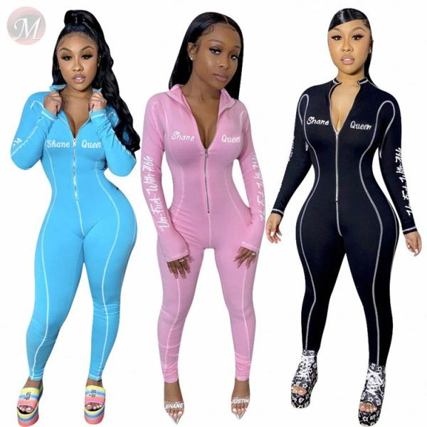 Wholesale Fashion Casual Letter Print Long Sleeve Jump Suit Basic Bodysuits Women One Piece Jumpsuits And Rompers