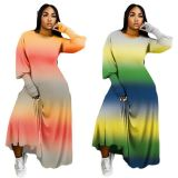 2020 Fall And Winter New Gradient Color Long Sleeve Ladies Plus Size Dress Oversize Long Dress Women Casual Dresses