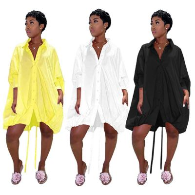 Stylish Ladies Shirt Dresses Solid Color Loose 3 Colors Fall New Women Sexy Clothes Bandage Lady Elegant Casual Dress