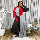 Best Seller 2020 Fall New Long Sleeve Contrast Color Splice Ladies Maxi Long Dress Women Casual Dress