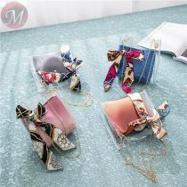 Fashion Simple Pu Big Capacity Lady Crossbody Single Shoulder Women Pvc Transparent Chain Handbag