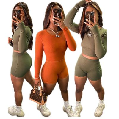 2020 Fall New Solid Color High Elastic Comfortable Rib Sexy 2 Pcs Track Suit Outfits Two Piece Shorts Set Women Clothing