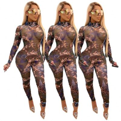 Best Seller Autumn New Long Sleeve Mesh Perspective Print Sexy Bodycon Jumpsuit Women One Piece Jumpsuits And Rompers