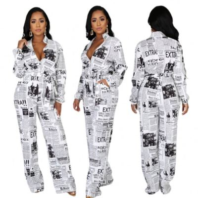 2020 Fall New Sexy V Neck Long Sleeve Newspaper Print Shirt Jumpsuit Women One Piece Jumpsuits And Rompers For Woman