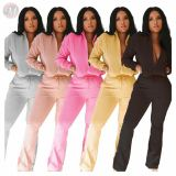 Best Seller Fashion Casual Solid Color Trumpet Sexy 2 Pcs Track Suit Outfits Two Piece Set Women Clothing For Women
