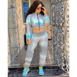 Wholesale Casual Long Sleeve Hooded Sports Suit Tie-Dye Autumn Sexy 2 Pcs Track Suit Outfits Two Piece Set Women Clothing