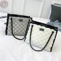 Hot Sale Winter casual fashion Soft Fur Tote Bag Velvet Fashion Rhomboids Chain Lady Handbag