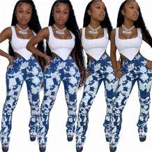 High Quality Mid Waist Denim Pants Print 2020 Fall New Women Female Bottoms Ladies Trousers Jeans Pants