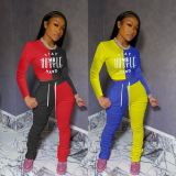 High Quality Sports Suit Letters Print Stacked Pants Set Sexy 2 Pcs Track Suit Outfits Two Piece Set Women Clothing