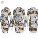 Wholesale Fashion Casual Print Long Sleeve Women Girls' Sexy Clothes Lady Elegant Summer Dress