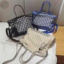 Large capacity braided handbag bag female bag new fashion one shoulder cross body rivet tote bag