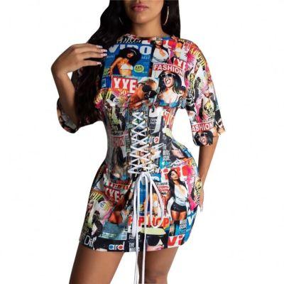 Fashionable Sterrewear Print Night Club Wear Women Girls' Sexy Clothes Bandage Lady Elegant Fall Casual Dress
