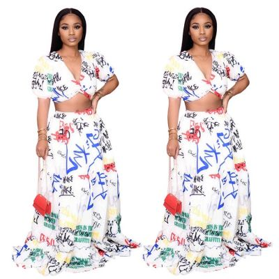 2020 Fashion Print Sexy V Neck Party 2 Pcs Dress Outfits Long Skirt And Crop Top Two Piece Set Women Clothing For Women