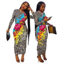 Hot Onsale Fashion Leopard Print Flowers Splicing Long Sleeve Sexy Bodycon Dress Women Casual Dresses