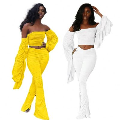 Fashion Streetwear Night Clubwear Fall New Solid Color Sexy Off The Shoulder Stacked Pants Set 2 Piece Set Women Clothing