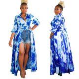 Popular Fall New Fashion Print Long Sleeve Ladies Plus Size Dress Oversize Lady Elegant Sexy Clothes Women Casual Dress