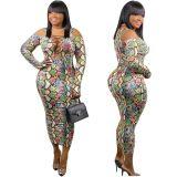 Hot Onsale Fat Ladies Snakeskin Print Oversize Dresses Sexy Bodycon Off Shoulder Bandage Hollowout Women Plus Size Dress
