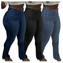 Latest Design 2020 Casual Fashion Slit High Elasticity Women Female Bottoms Ladies Trousers Jeans Pants