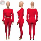 New Design Fashion Casual Solid Color Long Sleeve 2 Pcs Track Suit Outfits Two Piece Set Women Clothing For Women
