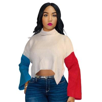 Wholesale Fashion 2020 Winter New High Neck Sweater Flare Sleeve Splice Back Slit Knitwear Women Sweater