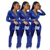 Hot Selling 2020 Fall New Stacked Pants Set Crop Top And Pants Sexy 2 Pcs Outfits Velvet Two Piece Set Women Clothing
