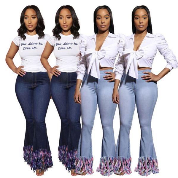 Hot Selling Fashion Streetwear Mid Waist Washed Tassels Denim Pants Women Female Bottoms Ladies Trousers Jeans Pants