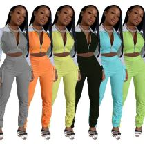 Latest Design Casual Sports Suit Long Sleeve Splice Fall New Sexy 2 Pcs Track Suit Outfits Two Piece Set Women Clothing
