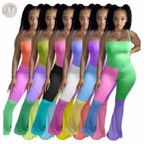 Best Design Casual Fashion Skinny Patchwork Color Jump Suit Basic Bodysuits Women One Piece Jumpsuits And Rompers
