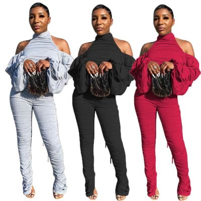 2020 Fall New Slit Draped Puff Sleeve Ladies Sexy Backless Jumpsuit Stacked Pants Women One Piece Jumpsuits And Rompers