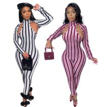 Wholesale New 2020 Fall Long Sleeve Striped Print Sexy Bodycon Jumpsuit Bodysuits Women One Piece Jumpsuits And Rompers