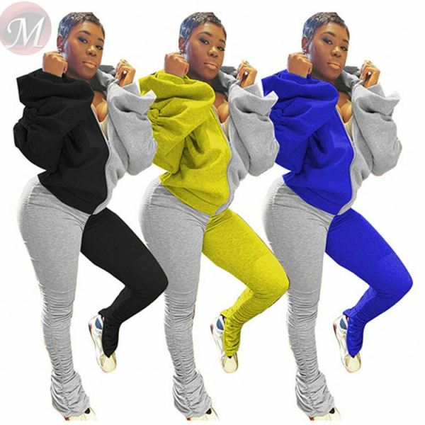 Best Seller Casual Fashion Patchwork Color Draped Top And Pants Sexy 2 Pcs Track Suit Outfits Two Piece Set Women Clothing