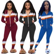 Casual Fashion Long Sleeve Hooded Sports Suit Zip Splice 2020 Sexy 2 Pcs Track Suit Outfits Two Piece Set Women Clothing