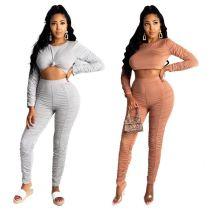 Hot Sale 2020 Fall Solid Color Stacked Pants Set Sports Suit Sexy 2 Pcs Track Suit Outfits Two Piece Set Women Clothing