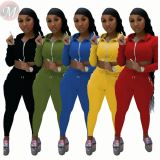 Wholesale Price Zipper Solid Color Fashion Casual Crop Top 2 Pcs Track Suit Outfits Two Piece Set Women Clothing