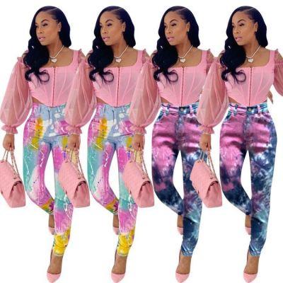 Latest Design 2020 Fashion Streetwear Tie-Dye Print Denim Pants Women Female Bottoms Ladies Trousers Jeans Pants