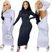 Fashionable Solid Color Long Sleeve Sexy Backless Bodycon Dress Ladies Night Club Party Dress Women Girls' Casual Dress