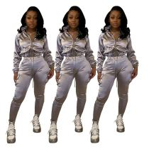 Wholesale Fashion Autumn And Winter Zip Sports Suit Sexy 2 Pcs Track Suit Outfits Two Piece Set Women Clothing