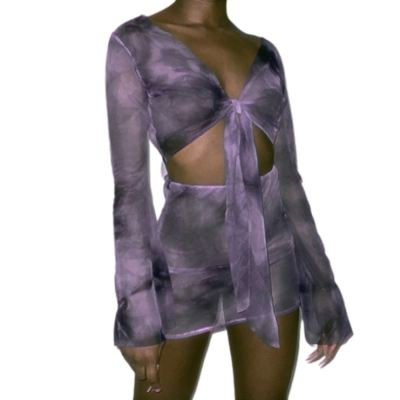 Stylish 2020 Fall Sexy Mesh Perspective Long Sleeve Bowknot Crop Top And Skirt 2 Piece Dress Set Women Skirt Set