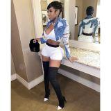 Newest Design Women Jeans Jacket Short Denim Jacket Fashion Jeans Tops Holes Long Sleeve Casual Outwear Coat