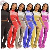 Fashion Sexy Casual Solid Color Draped Velvet 2 Pcs Track Suit Outfits Two Piece Set Women Clothing For Women