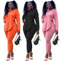 Wholesale 2020 Fall New Solid Color Slit Long Sleeve Hooded Sports Suit Sexy Outfits Two Piece Set Women Clothing