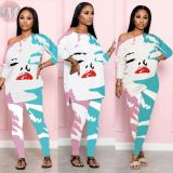 New Sexy Casual Fashion Loose Lip Print 2 Pcs Track Suit Outfits Two Piece Set Women Clothing For Women