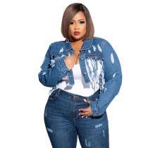 Latest Design Tassels Backless Women Plus Size Jeans Jacket Short Denim Jacket Fashion Jeans Crop Tops Casual Outwear Coat