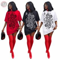 New Style Fashion Casual Poker Print Short Sleeve Women Girls' Sexy Clothes Lady Elegant Summer Dress