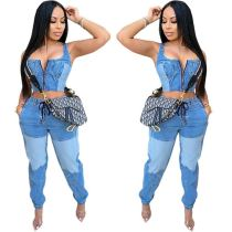 Good Quality Splice 2020 Fashion Denim Suit Crop Top And Jeans Pants High Waist Zip Sexy Two Piece Set Women Clothing