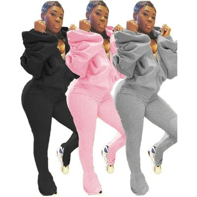 Best Design Solid Color Slit Draped Puff Sleeve Ladies Sexy Backless Hooded Jumpsuit Women One Piece Jumpsuits And Rompers